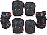 SPOMAT Knee and Elbow Pads with Wrist Guards Kids Adults 6 in 1 Protective Gear Set for Skating, Rollerblading