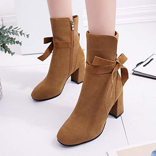 Doradas Marrón Rebajas Calzado Botin Zapatos Cremallera Corta De Alto ALIKEEY con Casual Tacon Mujer Plataforma Bota Proa Fqx1Za