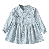 Sacherron Tech Skirt child Toddler Baby Girls Long Sleeve Solid Ruched Floral Dressed Clothes Solid Color Bow Flower Print Princess Dress Blue
