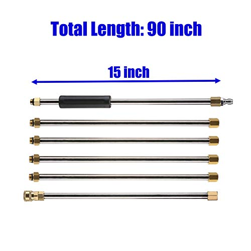 M MINGLE Pressure Washer Wand Extension, Replacement Lance, 7.5-Feet, 1/4'' Quick Connect, 4000 PSI by M MINGLE (Image #1)