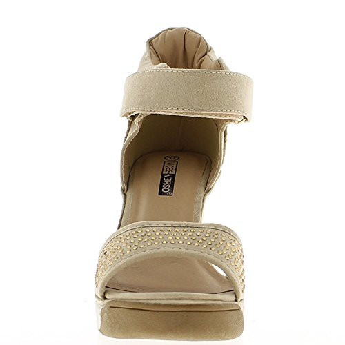 Nascente sneakers zeppa aprire beige al tacco 8cm