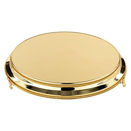 - 16 Inch Round Shiny Metallic Wedding Cake Stand Plateau (Gold)