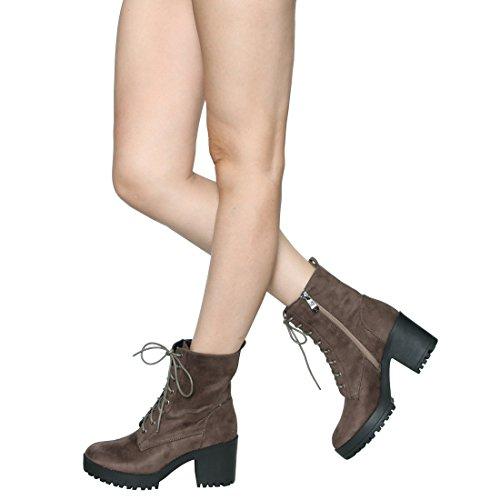 Beston Ej04 Mujeres Fashion Tobillo Alto Chunky Block Heel Combate Botines Taupe