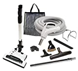 35' Deluxe Central Vacuum Kit with Hose, Power Head & Wands - Black - Works with all brands of central vacuum units