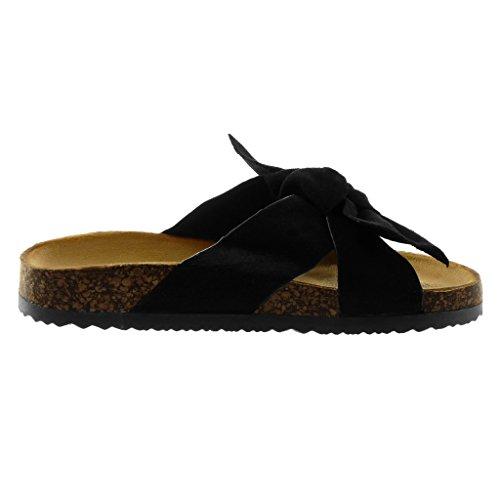 Angkorly Women's Fashion Shoes Sandals Mules - Slip-On - Knot - Node - Cork Wedge 2.5 cm Black