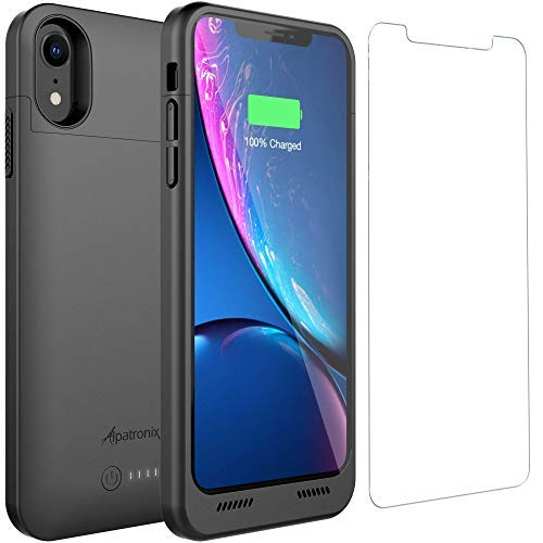 iPhone Xr Battery Case, Alpatronix BXXrt 3500mAh Qi Compatible Wireless Portable Power Bank and iPhone Xr Slim Charger, 50% Faster Charging Battery Pack, Original iPhone Lightning Chip - Black