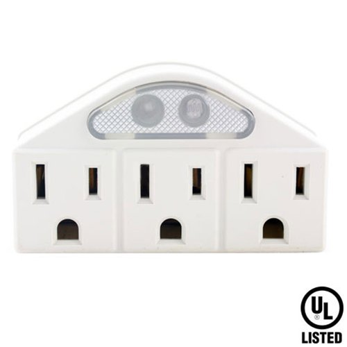 PartPass 3 Triple Grounded Outlets 3 Prong AC Power In-Wall Adapter Mount Surge Tap with Sensor Night Light UL Listed, White (US Seller)