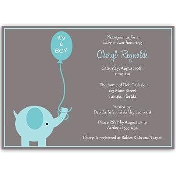Elephant Baby Shower Invitations, Boys, Blue, Aqua, Gray, Balloon, Itu0027s