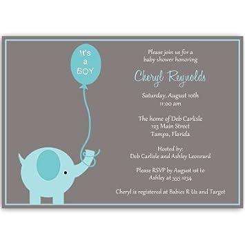 Amazon elephant baby shower invitations boys blue aqua gray elephant baby shower invitations boys blue aqua gray balloon its filmwisefo Image collections
