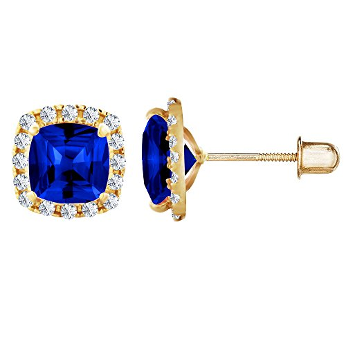 14kt Solid Earrings (14kt Solid Gold Kids Square Stud Screwback Earrings - Sapphire)