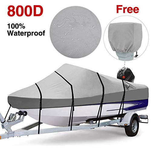 RVMasking 100% Waterproof 800D Polyester Trailerable Full Size Boat Cover Gray for 17