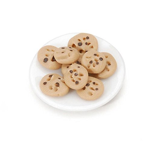 - Dollhouse Miniature Porcelain Plate of Chocolate Chip Cookies