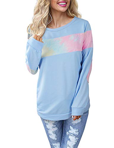 (Blooming Jelly Women's Color Block Plaid Shirt Crewneck Sweatshirt Elbow Patches Tie Dye Pulllover Top (Small, Blue1))