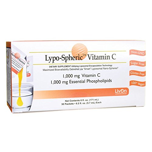 Lypo-Spheric Vitamin C , 0.2 fl oz. - 30 Packets | 1,000 mg Vitamin C Per Packet | Liposome Encapsulated for Maximum Bioavailability | Professionally Formulated | 100% Non-GMO, Ultra-Potent Vitamin C | 1,000 mg Essential Phospholipids Per Packet