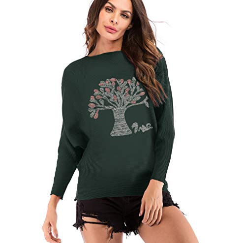 kemilove Women Tree Pattern Casual Pullover Sweatshirt T-Shirt Long Sleeve O-Neck Loose Casual Knitting Tops Blouse Army Green