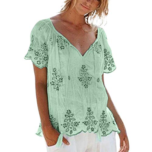 Women's Summer Shirt, Claystyle Plus Size V-Neck Strap Embroidered Short Sleeve Top T-Shirt Comfortable Short Sleeve(Green,L) (Crew Embroidered Jersey)