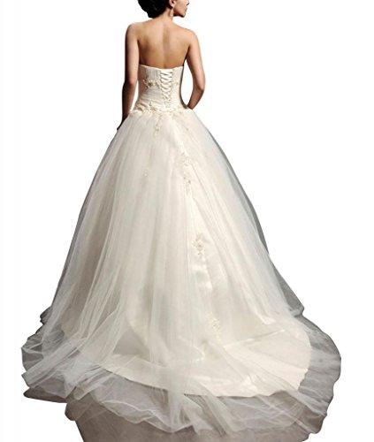 GEORGE Elfenbein Taille Satin Ballkleid Tuell Hochzeitskleider Liebsten Brautkleider BRIDE Natuerliche rPRarx