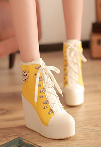 CHFSO Womens Sexy Pointed Toe Lace Up Metal Decoration High Wedge Heel Platform Ankle Boots Yellow vplKIVhZWz