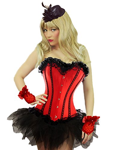 Red Corset Tutu Adult Costumes Dress (Yummy Bee Womens Burlesque Corset + Tutu Skirt Costume Size 10 Red)