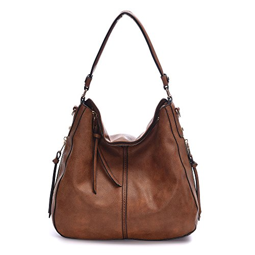 DDDH New Vintage Hobo Handbags Shoulder Bags Durable Leather Tote Messenger Bags Bucket Bag For Women/Ladies/Girls(Brown)