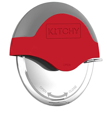 Kitchy Pizza Cutter Wheel with Protective Blade Guard, Super Sharp and Easy To Clean Slicer, Stainless Steel (Red) ()