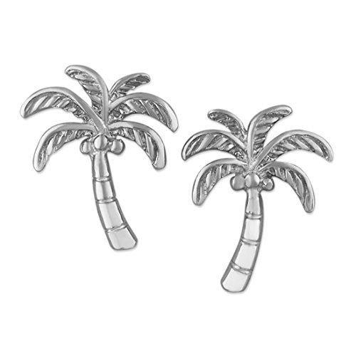 (Rhodium Plated Sterling Silver Coconut Palm Tree Stud Earrings)