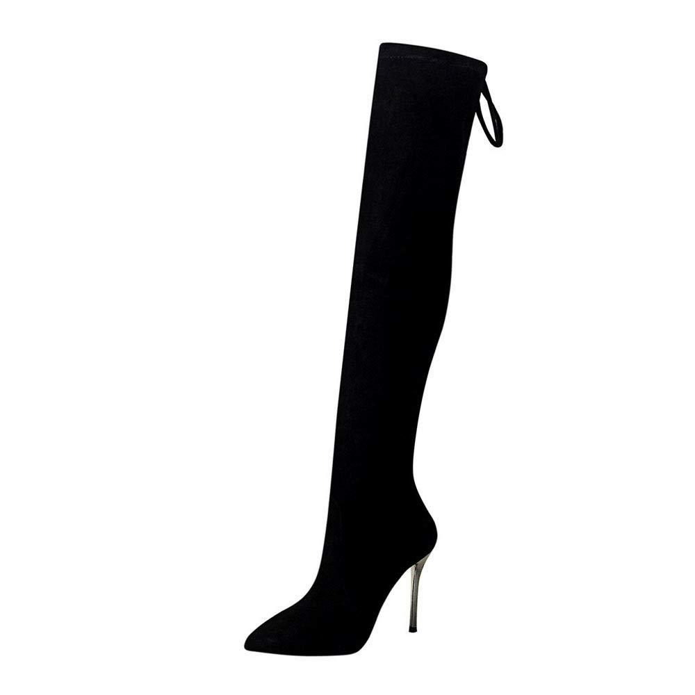 Sixminyo Lange Stiefel mit hohem Absatz Wildleder über dem Knie (Farbe   schwarz Größe   38)