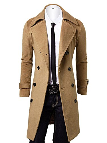 OCHENTA Men's Double Breasted Turn Down Collar Slim Woolen Overcoat Khaki Asian 4XL – US XL+
