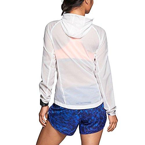 Nike Women's Impossibly Light Running Jacket, White/Hyper Cobalt (Large)