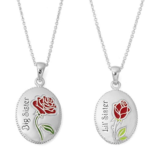 "Disney Beauty and The Beast Silver Plated ""Big Sister, Lil' Sister"" Set of Two Pendant Necklaces, 18"" Chain"