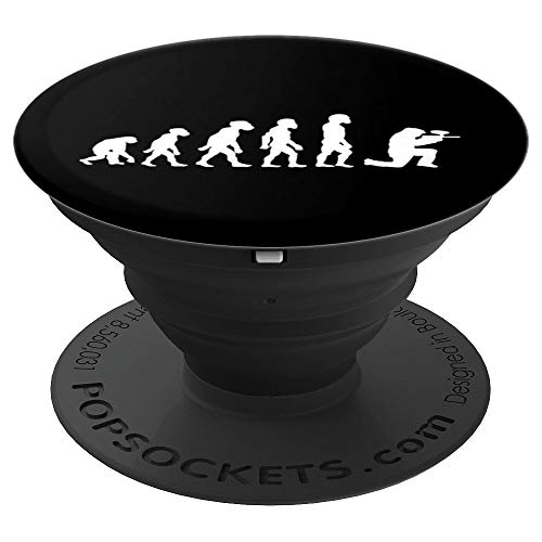 Funny Human Paintball Player Evolution Target Shooter PopSockets Grip and Stand for Phones and Tablets