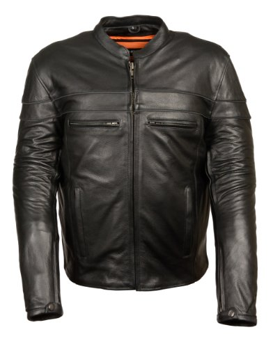 (Men's Sporty Style Vented Scooter Jacket w/ Charcoal Reflective Piping (Medium))