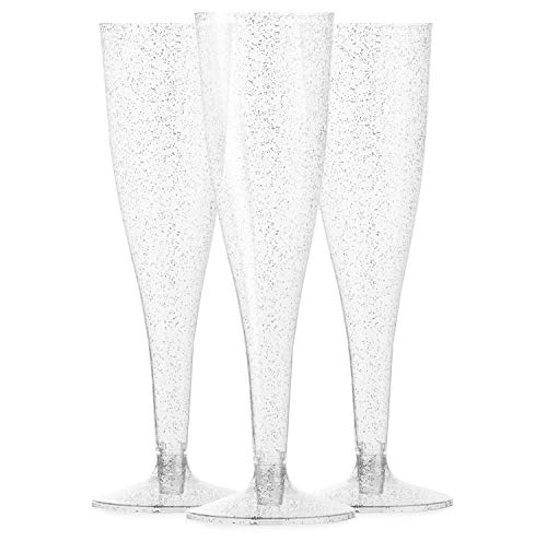 48 Premium Plastic Silver Glitter Champagne Flutes - Bulk Champagne Glasses for Wedding, Party, Toasting, Mimosa or Cocktails ()