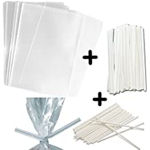 "100 3x4"" Treat Bags, White Twist Ties and 6"" Inch Paper Lollipop Sticks - CakePop Kit - 1.5mils Thick Food Safe PP Plastic - Party Treat Bags (White, 3x4"")"