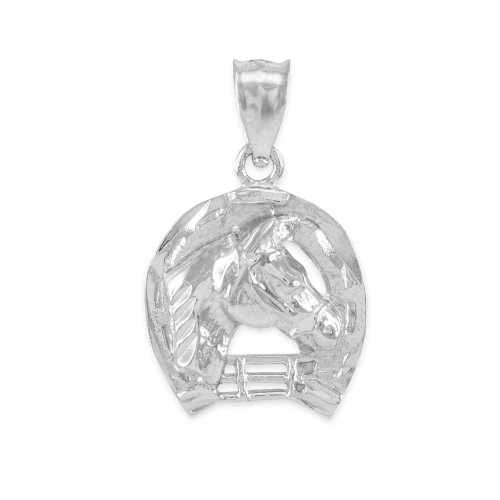 Horse Horseshoe Head - Polished 925 Sterling Silver Good Luck Horseshoe Charm Horse Head Pendant