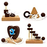 Brain Teaser Puzzle 3D Wooden Threading Rope Loop Puzzle Luban Lock Brain Teaser Game Adult Kids Toy Puzzles for Adults