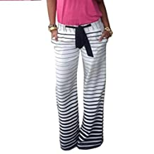 Fashion Story Women Stripes Wide Leg Long Stretch Pants Yoga Belt Casual Trousers
