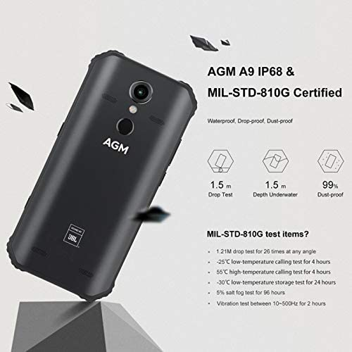 AGM A9 Android 8.1 Rugged Smartphone 4GB+32GB Octa Core 5,99 Inch ...