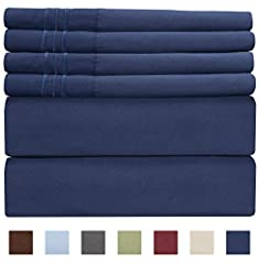 CGK UNLIMITED: Supreme blend of craftsmanship, our linens are designed to offer a unique and sophisticated sleeping experience. QUEEN SIZE NAVY BLUE: This simply navy blue colored queen size set includes a 6 PC sheet package consisting of a F...