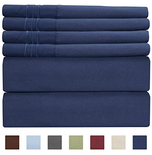 Full Size Sheet Set - 6 Piece Set - Hotel Luxury Bed Sheets - Extra Soft - Deep Pockets - Easy Fit - Breathable & Cooling Sheets - Comfy - Royal Blue - Navy Blue Bed Sheets - Fulls Sheets - 6 PC