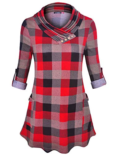 (Le Vonfort Women's Roll-up 3/4 Sleeve Cowl Neck Buttons Decor Casual Tunic Top Blouse with Pockets Black Red X-Large)