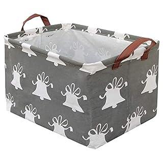 BOOHIT Rectangular Storage Basket,Nursery Hamper Canvas Fabric Toy Storage Organizer Bin,Waterproof Storage Box,Laundry Basket for Kid Rooms,Playroom,Shelves,Toy Basket,Gift Basket(Small Bell)