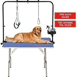 """ITORI 36"""" Professional Grooming Table for Dog and Pet which is Foldable and Durable with Adjustable Arm, Stainless Leg Frame, Extra Tool Holder and Extra Hauch Holders"""