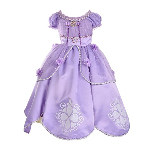 SMITH SURSEE Princess Sofia Dress Up Costume Cosplay Dress for (Sofia The First Baby Costumes)