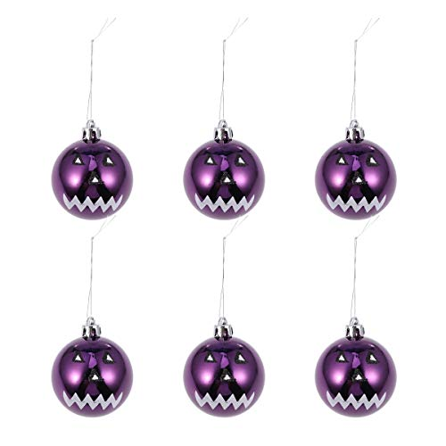 Amosfun Halloween Hanging Ball Drops for Festival Party Gathering Ghost Face 6CM 6pcs (Purple) -