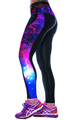 Ninimour- Womens 3d Digital Printed Workout Capri Leggings Stretch Tights