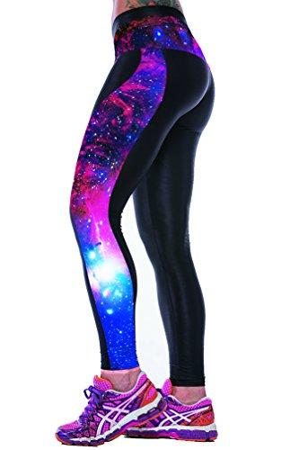 Ninimour Womens 3d Digital Printed Workout Capri Leggings Stretch Tights