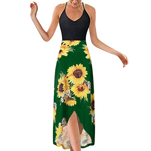 Dress for Women,Chaofanjiancai V Neck Sleeveless Summer Asymmetrical Patchwork Floral Maxi Dresses Sexy Sling Dress Green