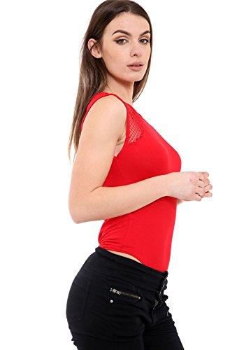 Janisramone - Body - Sin mangas - para mujer crema