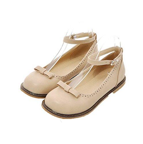 Amoonyfashion Donna Fibbia No-heel Pu Solido Chiuso Punta Rotonda Pompe-scarpe Beige